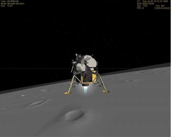 Lunar module over the moon