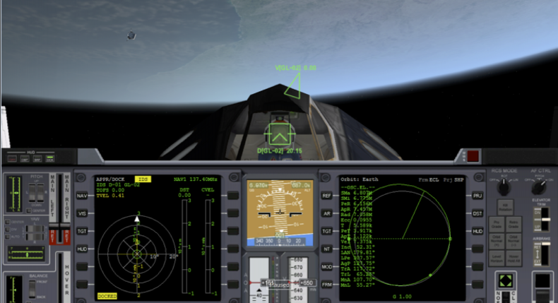 Cockpit view after docking